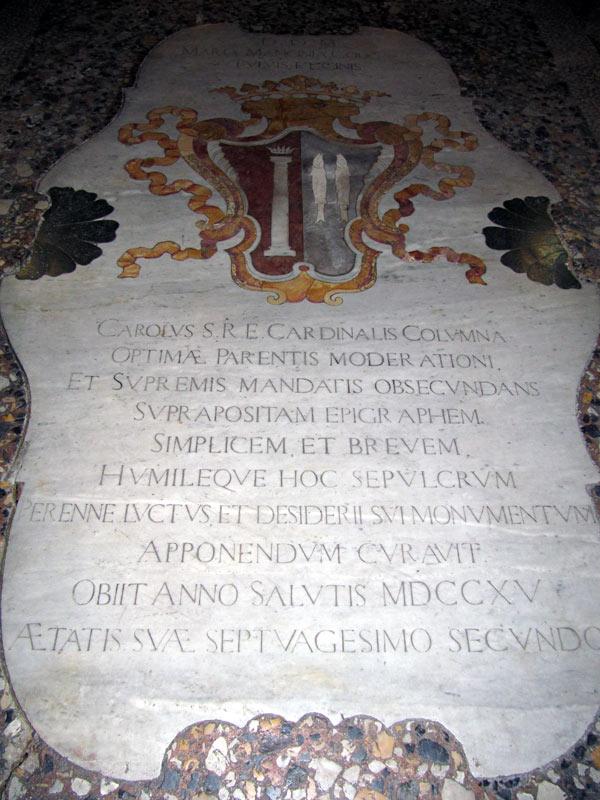 Tomba di Maria Mancini (Pisa, Chiesa del Santo Sepolcro. Fonte Foto: http://www.lakinzica.it)