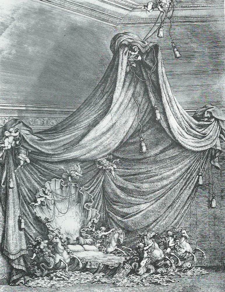 """Giovanni Paolo Schor, """"Letto monumentale per la nascita del primogenito del Connestabile Lorenzo Onofrio Colonna, Filippo (7 aprile 1663), Berlino, Kunstbibliothek"""