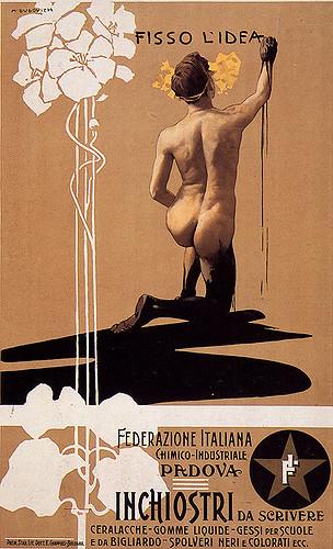 M. Dudovich, Federazione Italiana Chimico Industriale – Padova, 1899. Manifesto litografico (stampa Chappuis, Bologna). 70 x 50 cm. Raccolta Salce, Museo Civico Bailo, Treviso.