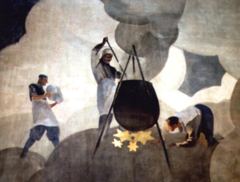 """M. Dudovich (in collaborazione con W. Resentera), Particolare del murale con i cuochi (foto dell'autore) - Fonte: """"M.A. de Caterina, Marcello Dudovich: le decorazioni murali (1906 - 1947)""""."""