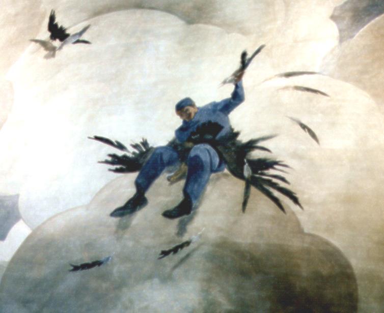 """M. Dudovich (in collaborazione con W. Resentera), Particolare del murale con lo spennamento del """"pollo"""" (foto dell'autore) - Fonte: """"M.A. de Caterina, Marcello Dudovich: le decorazioni murali (1906 - 1947)""""."""