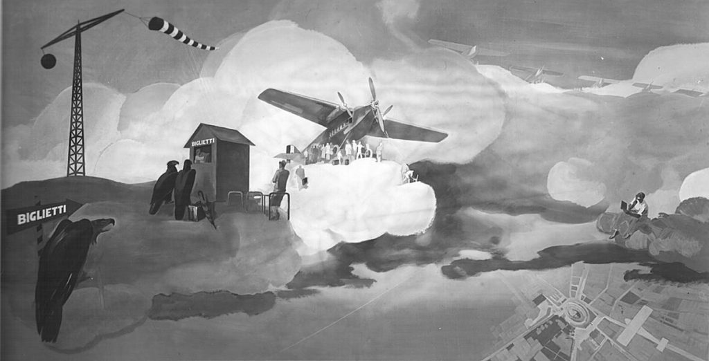 """M. Dudovich (in collaborazione con W. Resentera), Fotografia in b/n del murale con le aquile che fanno il biglietto per imbarcarsi - Ufficio Documentazione Ministero dell'Aeronautica. Fonte: """"R. Curci, Marcello Dudovich. Oltre il Manifesto"""""""