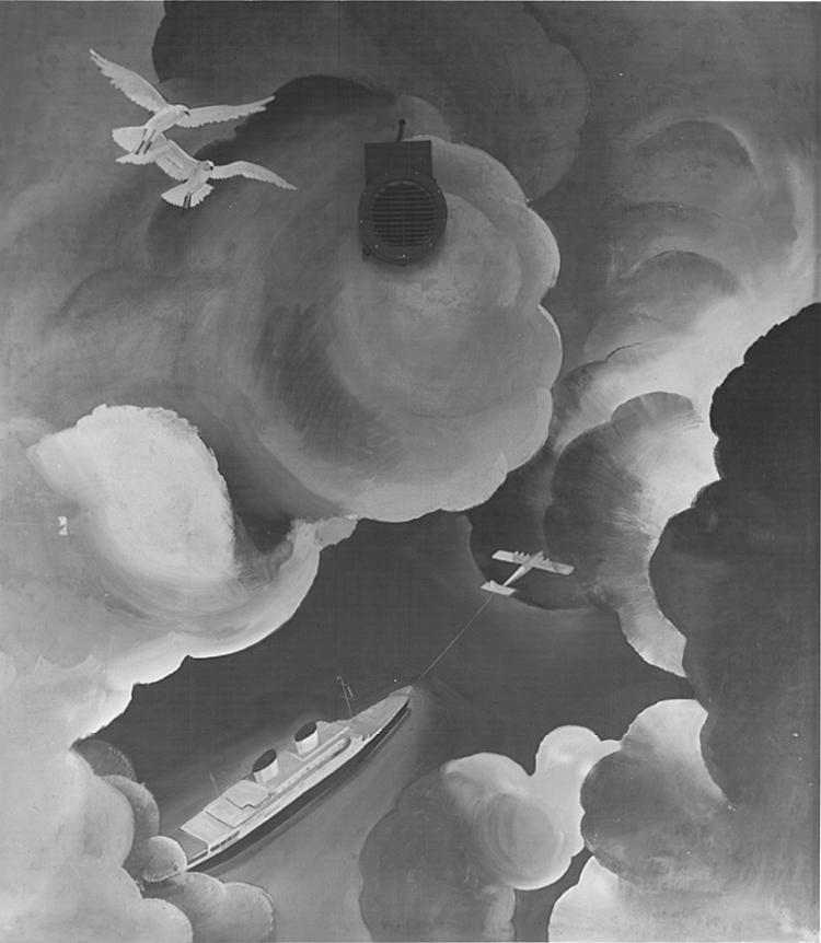 """M. Dudovich (in collaborazione con W. Resentera), Fotografia in b/n del murale con un aereo che trascina con una fune una nave - Ufficio Documentazione, ministero dell'Aeronautica. Fonte: """"R. Curci, Marcello Dudovich. Oltre il Manifesto"""""""