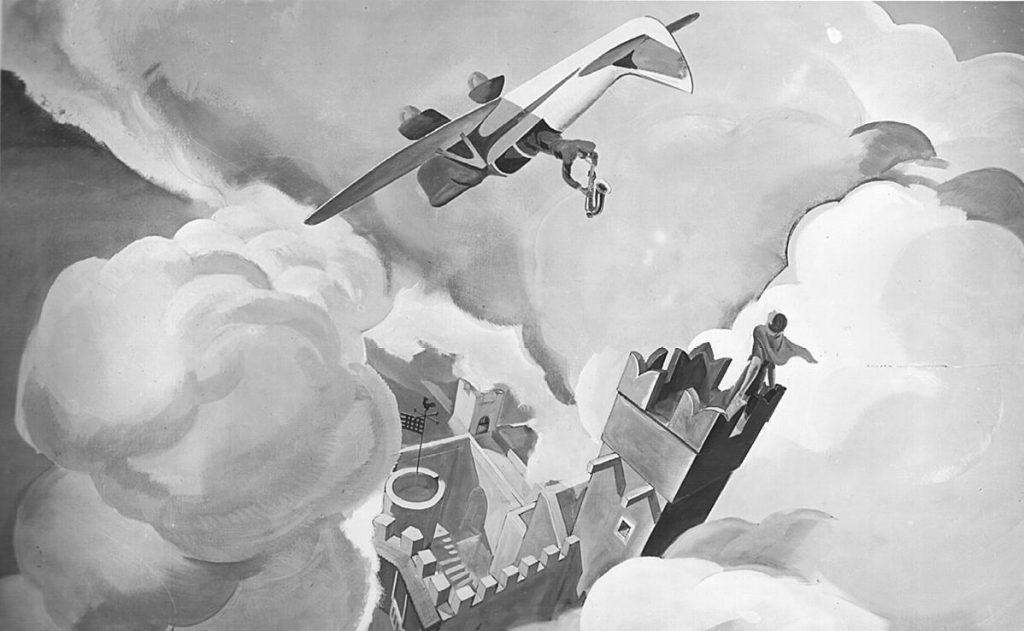 """M. Dudovich (in collaborazione con W. Resentera), Fotografia in b/n del murale con una serenata - Ufficio Documentazione Ministero dell'Aeronautica. Fonte: """"R. Curci, Marcello Dudovich. Oltre il Manifesto"""""""