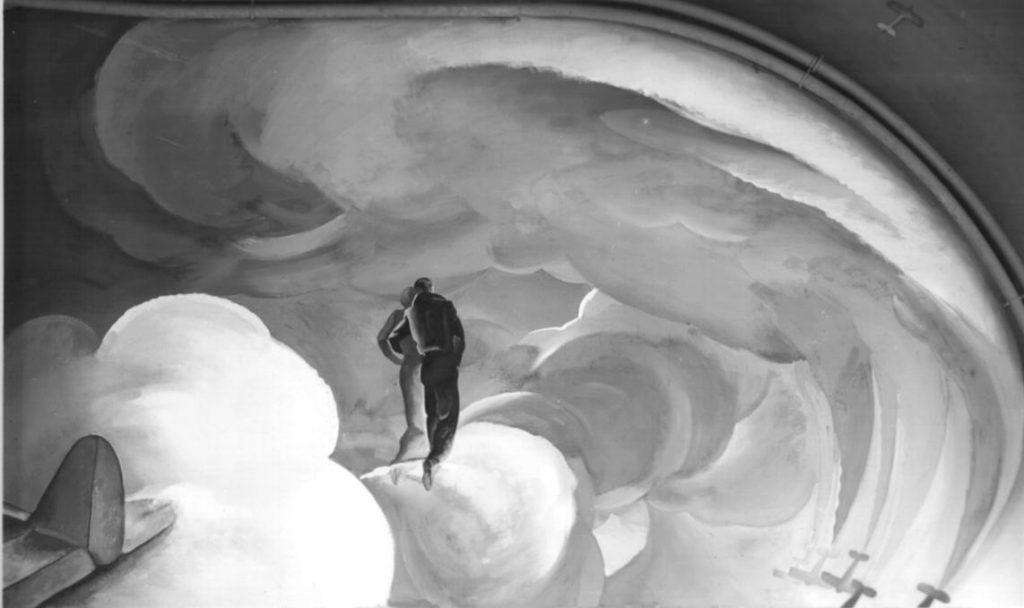 """M. Dudovich (in collaborazione con W. Resentera), Fotografia in b/n del murale con una coppia che ammira i giochi acrobatici di una squadra di aerei - Ufficio Documentazione Ministero dell'Aeronautica. Fonte: """"R. Curci, Marcello Dudovich. Oltre il Manifesto"""""""