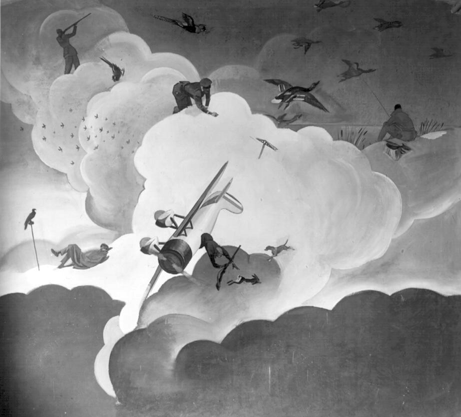 """M. Dudovich (in collaborazione con W. Resentera), Fotografia in b/n del murale con scene di caccia e pesca - Ufficio Documentazione Ministero dell'Aeronautica. Fonte: """"R. Curci, Marcello Dudovich. Oltre il Manifesto"""""""