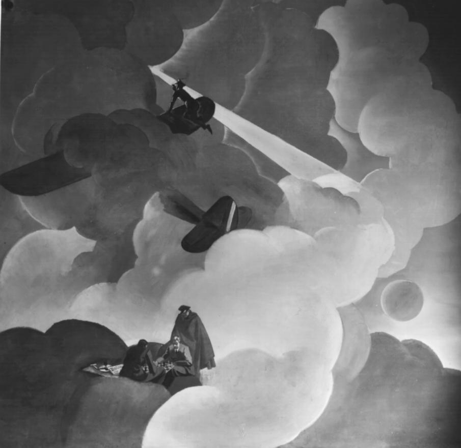 """M. Dudovich (in collaborazione con W. Resentera), Fotografia in b/n del murale con aviatori che giocano a scacchi - Ufficio Documentazione Ministero dell'Aeronautica. Fonte: """"R. Curci, Marcello Dudovich. Oltre il Manifesto"""""""