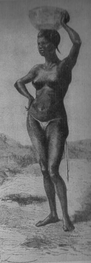 """Disegno da una pubblicazione d'epoca (1938), La figlia di un marabutto dell'Ualet – Fonte: """"M.A. de Caterina, Marcello Dudovich: le decorazioni murali (1906 - 1947)""""."""