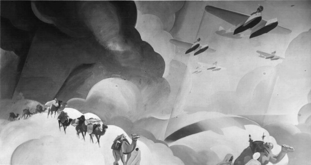 """M. Dudovich (in collaborazione con W. Resentera), Fotografia in b/n del murale con scene coloniali - Ufficio Documentazione Ministero dell'Aeronautica. Fonte: """"R. Curci, Marcello Dudovich. Oltre il Manifesto"""""""