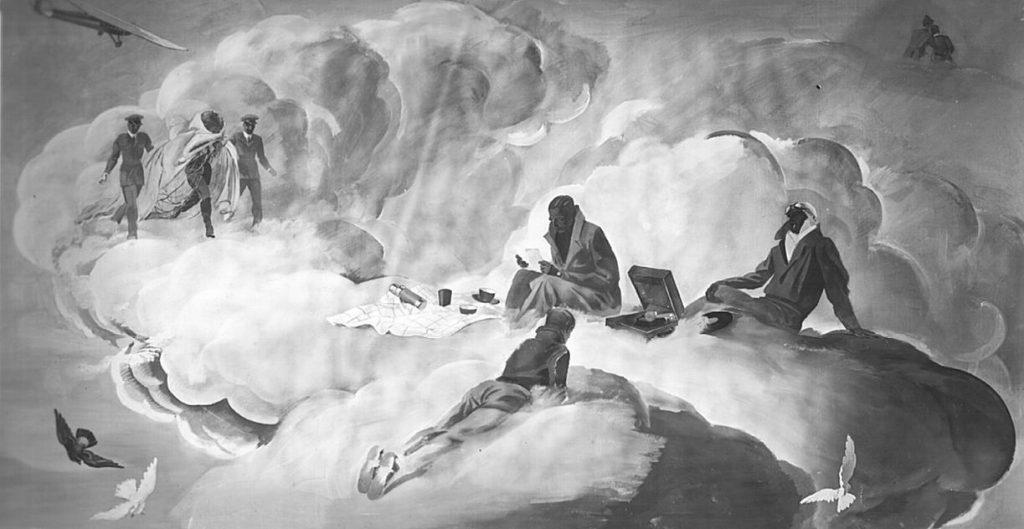 """M. Dudovich (in collaborazione con W. Resentera), Fotografia in b/n del murale con scene paracadutista - Ufficio Documentazione Ministero dell'Aeronautica. Fonte: """"R. Curci, Marcello Dudovich. Oltre il Manifesto"""""""