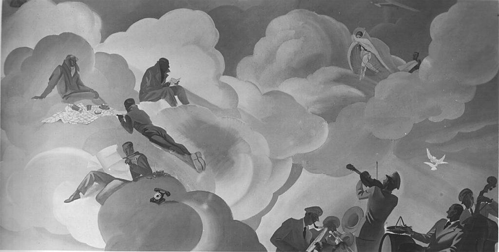 """M. Dudovich (in collaborazione con W. Resentera), Fotografia in b/n del murale con paracadutista e orchestra - Ufficio Documentazione Ministero dell'Aeronautica. Fonte: """"R. Curci, Marcello Dudovich. Oltre il Manifesto"""""""