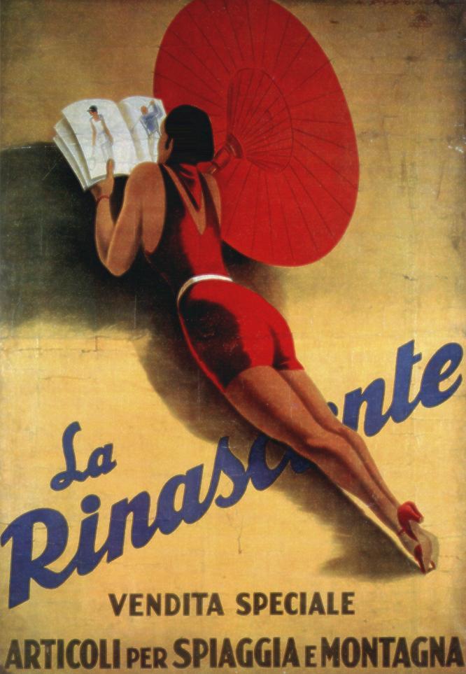 """M. Dudovich, """"La Rinascente – Vendita Speciale. Articoli per spiaggia e montagna"""", 1931. (Stampa Star-IGAP, Milano), 195x140 cm. Treviso, Raccolta Salce."""