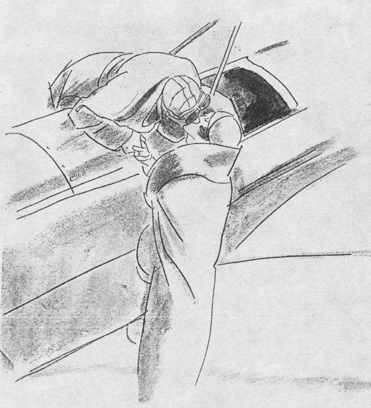 """Disegno di M. Dudovich pubblicato su una rivista del 1932 per pubblicizzare un articolo intitolato Moda e aviazione - Fonte: """"M.A. de Caterina, Marcello Dudovich: le decorazioni murali (1906 - 1947)""""."""