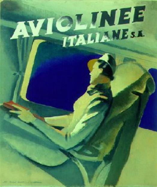"""Bozzetto pubblicitario di M. Dudovich per la Fiat, """"Aviolinee Italiane S.A."""", 1935 - Fonte: """"M.A. de Caterina, Marcello Dudovich: le decorazioni murali (1906 - 1947)""""."""