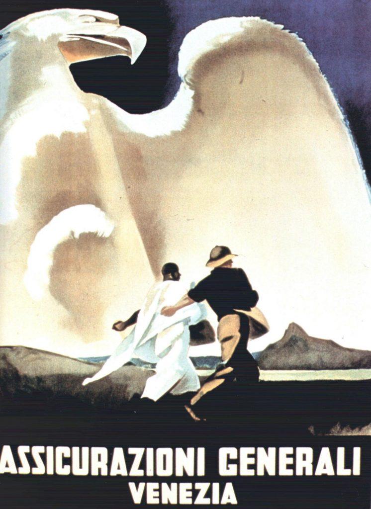 M. Dudovich, Assicurazioni Generali – Venezia, 1937-38 ca. Manifesto litografico (stampa Star-IGAP, Milano), 140x100 cm. Raccolta Salce, Museo Civico Bailo, Treviso.