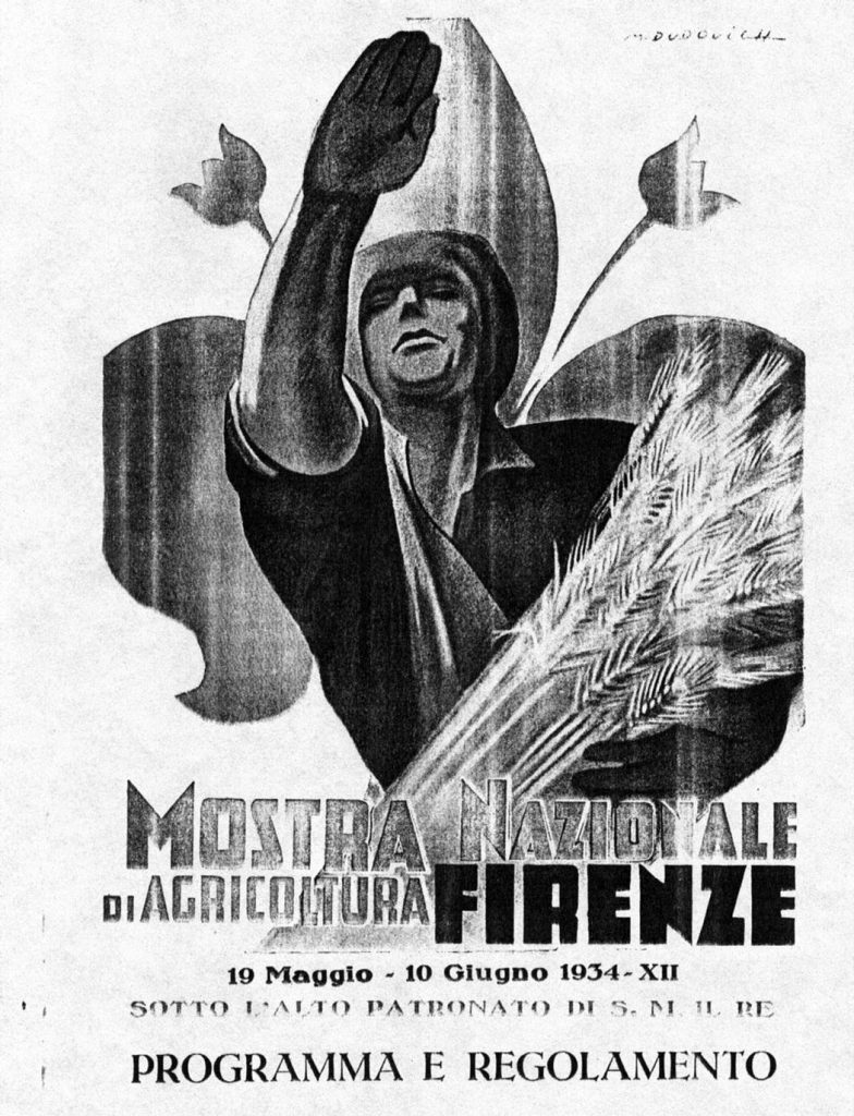 """Copertina firmata da M. Dudovich (ma di W. Resentera) per il programma della """"Mostra Nazionale di Agricoltura"""", tenutasi a Firenze (19 maggio - 10 giugno 1934) - Fonte: """"M.A. de Caterina, Marcello Dudovich: le decorazioni murali (1906 - 1947)""""."""