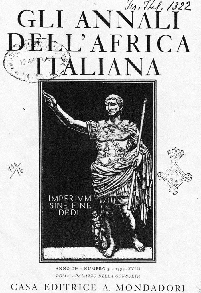 """Copertina de """"Gli Annali dell'Africa Italiana"""", 1939. Xilografia di Diego Pettinelli - Fonte: """"M.A. de Caterina, Marcello Dudovich: le decorazioni murali (1906 - 1947)""""."""