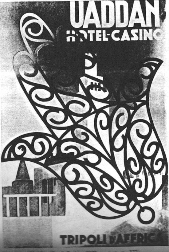 """M. Dudovich, Uaddan Hotel Casino – Tripoli d'Affrica, 1937 ca., (stampa IGAP, Milano-Roma) 100 x70 cm. – Fonte: """"M.A. de Caterina, Marcello Dudovich: le decorazioni murali (1906 - 1947)""""."""