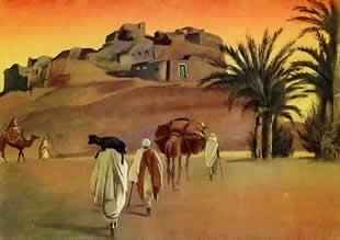 M. Dudovich, From Tripoli to Gadames - Sinauen, policromia per tavola illustrativa, 16,5 x 23 cm., 1930 – Archivio M. Dudovich, Milano. Fonte: www.marcellodudovich.it