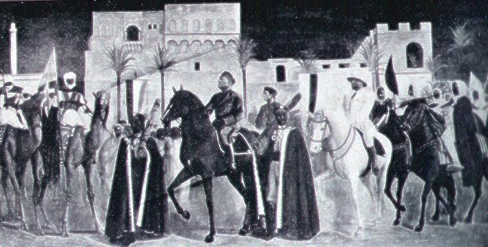 Atrio del palazzo degli Uffici del Governo, affresco commemorativo di Achille Funi sul viaggio del duce in Libia, 1937, 6,40x3,50. Il murale si riferisce in particolare alla visita di Mussolini a Tripoli, avvenuta il 16 marzo 1937.