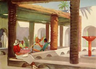 M. Dudovich, From Tripoli to Gadames - Gadames, the Hotel inside, policromia per tavola illustrativa, 16,5 x 23 cm., 1930 – Archivio M. Dudovich, Milano. Fonte: www.marcellodudovich.it