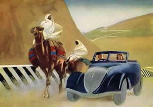 M. Dudovich, From Tripoli to Gadames - Towards Garian, policromia per tavola illustrativa, 16,5 x 23 cm., 1930 – Archivio M. Dudovich, Milano. Fonte: www.marcellodudovich.it
