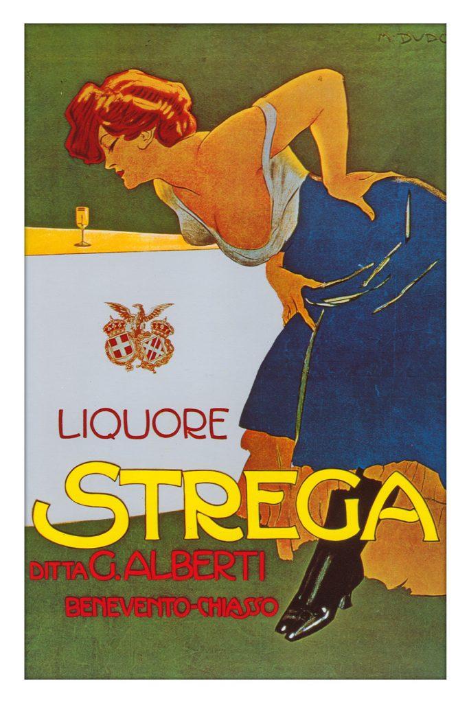 M. Dudovich, Liquore Strega, 1906 ca. Manifesto litografico (stampa Ricordi, Milano). 200 x 145 cm. Raccolta Salce, Museo Civico Bailo, Treviso
