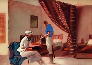 M. Dudovich, From Tripoli to Gadames - A room of Nalut Hotel, policromia per tavola illustrativa, 16,5 x 23 cm., 1930 – Archivio M. Dudovich, Milano. Fonte: www.marcellodudovich.it