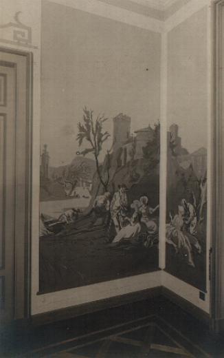 """M. Dudovich, Decorazioni murali, 1935-36 ca. Fotografie d'epoca, particolari. Casa Borletti, Milano – Fonte: """"R. Curci, Marcello Dudovich. Oltre il manifesto"""""""