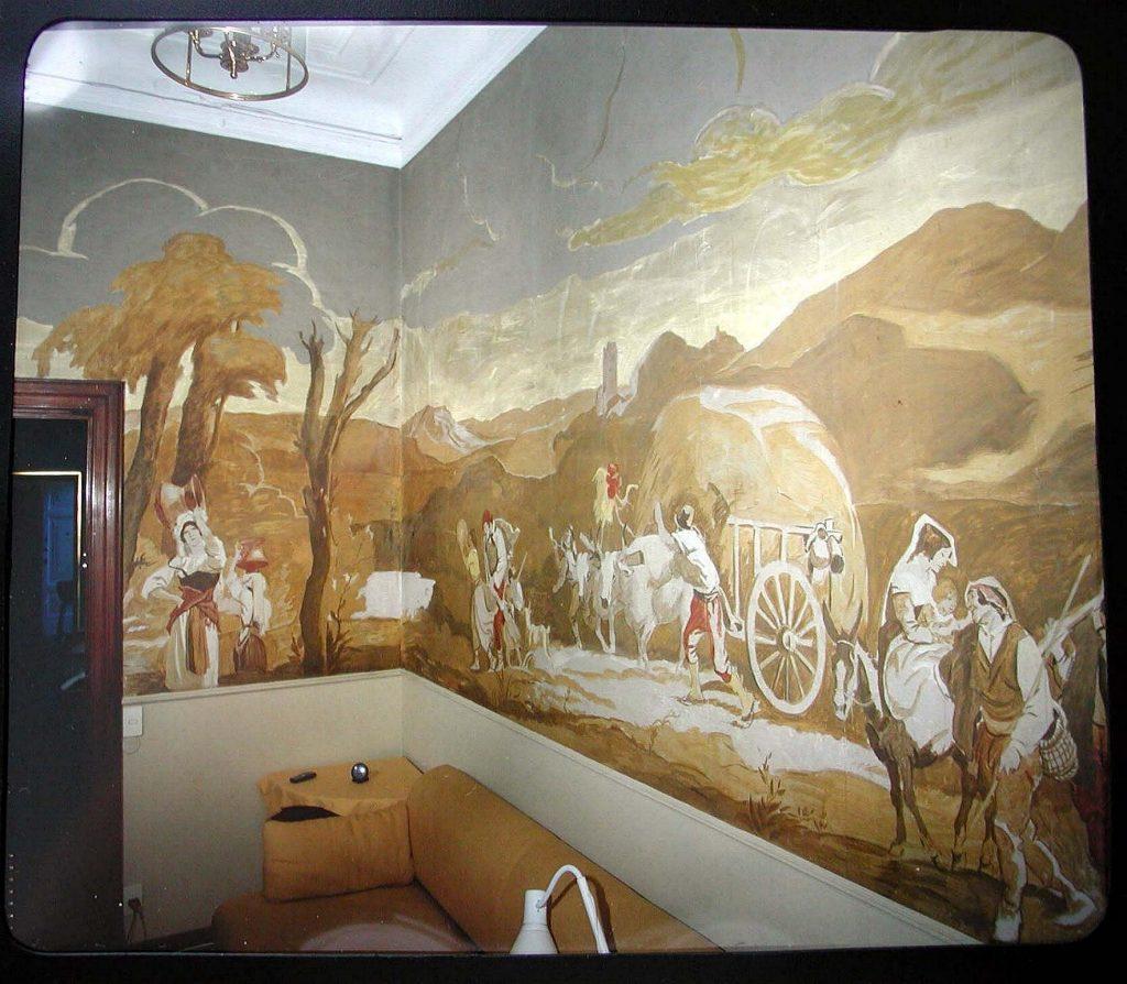 """M. Dudovich, decorazione murale a tempera su carta, 1928-29 ca. Salottino di casa Covi – Savazzi, Milano – Fonte: """"R. Curci, Marcello Dudovich. Oltre il manifesto"""""""