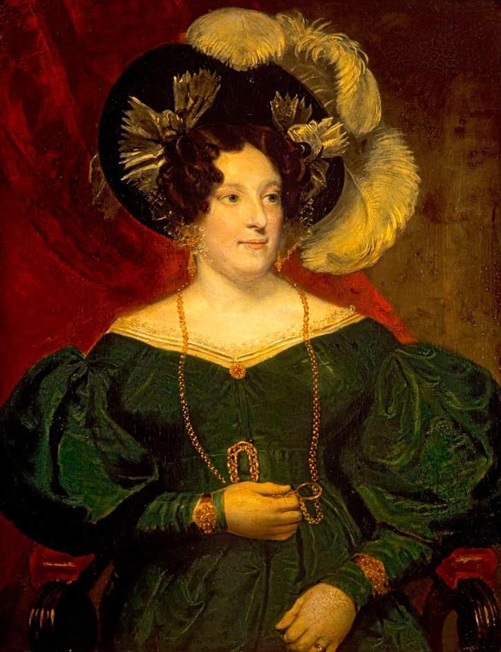 Carolina di Brunswick. Dipinto eseguito attorno al 1820, anno della proclazione del marito a re Giorgio IV