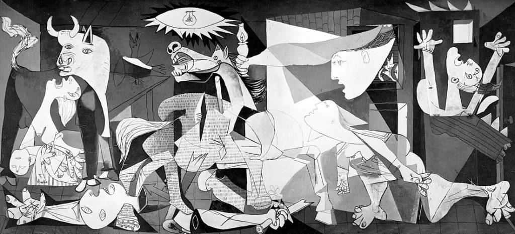 P. Picasso, Guernica, l'enorme tempera su tela (3,54x7,82), esposta nel 1937 al padiglione spagnolo dell'Esposizione Universale di Parigi, nata come esplicita denuncia di un tragico episodio di guerra.
