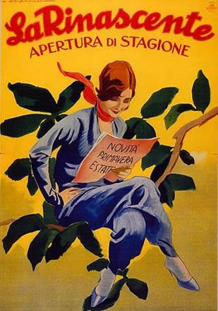 M. Dudovich, La Rinascente, apertura di stagione novità primavera, estate, 1949, 197 X 140 cm. (Stampa Star-IGAP, Milano), Raccolta Pirovano, Milano