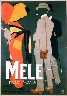 M. Dudovich, Mele & C. Napoli – Mode e Novità, 1910 ca. Manifesto litografico (stampa Ricordi, Milano). 200 x 145 cm. Civica Raccolta delle stampe Achille Bertarelli, Milano