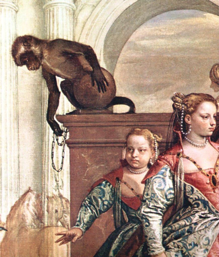 """Paolo Veronese, particolare della Presentazione della famiglia di Dario ad Alessandro, olio su tela, Londra, National Gallery, 1565-67 ca. – Fonte: """"M.A. de Caterina, Marcello Dudovich: le decorazioni murali (1906 - 1947)""""."""