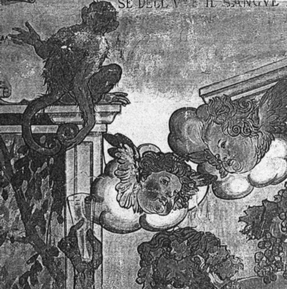 """Particolare della decorazione della tavernetta di villa Fonio, Emilia Romagna, realizzata dopo il 1923: Allegoria scherzosa del buon vino e della buona tavola – Fonte: """"M.A. de Caterina, Marcello Dudovich: le decorazioni murali (1906 - 1947)""""."""