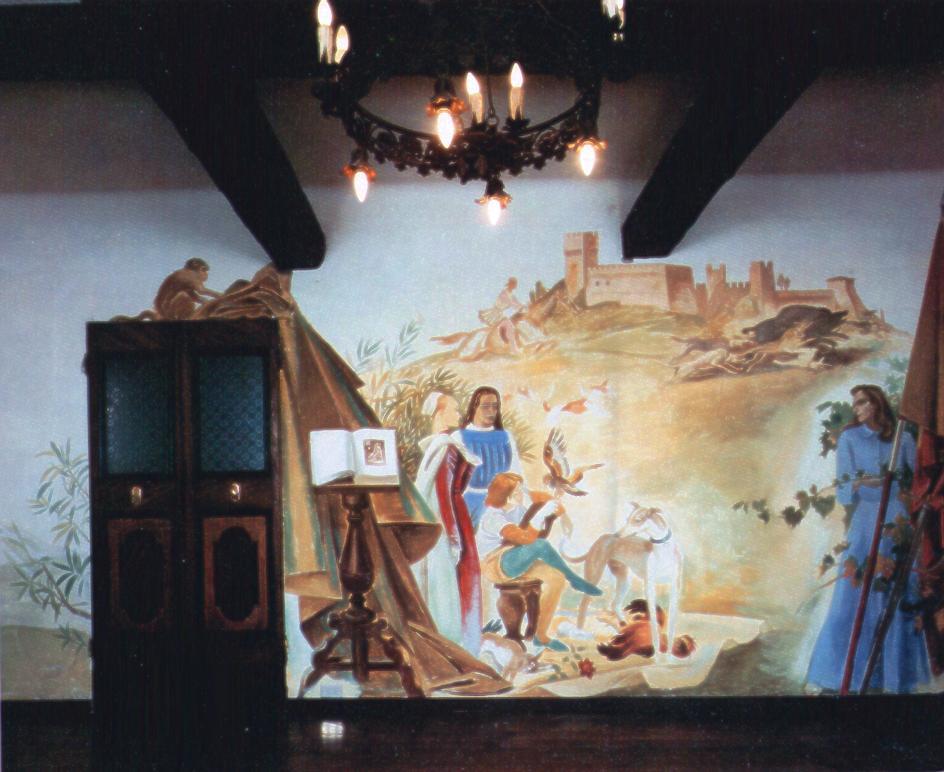 """M. Dudovich, """"Prima"""" parete del salotto di Villa Amalia con la tempera di M. Dudovich – Fonte: """"F. Farina, Il mare di Dudovich"""""""