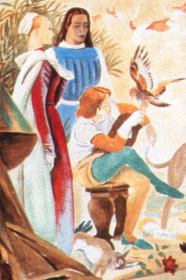 """M. Dudovich, particolare della """"prima"""" parete del salotto di Villa Amalia: la dama, il cavaliere, il bambino col falcone"""
