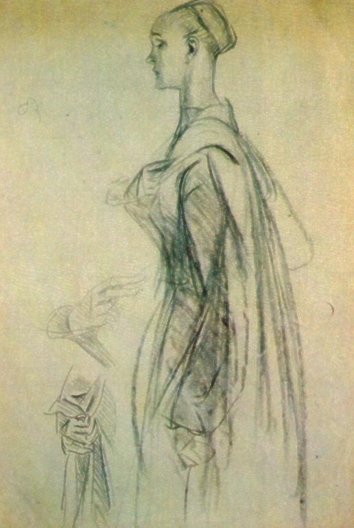 """Studio di M. Dudovich per le tempere di Villa Amalia: la dama vista di profilo, carboncino su carta, 35x50 cm – Fonte: """"F. Farina, Il mare di Dudovich"""""""