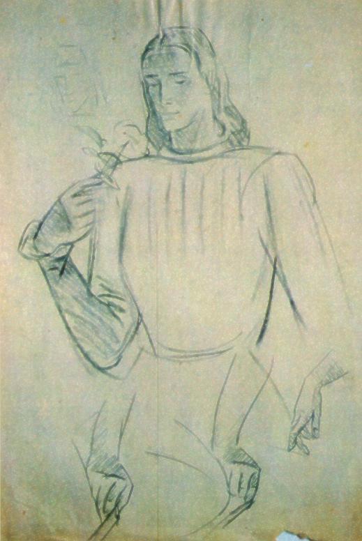 """Studio di M. Dudovich per le tempere di Villa Amalia: il cavaliere con la rosa, carboncino su carta, 35x50 cm – Fonte: """"F. Farina, Il mare di Dudovich"""""""