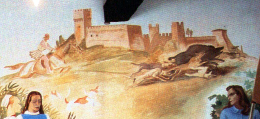 """M. Dudovich, particolare della """"prima"""" parete del salotto di Villa Amalia: la scena di caccia al cinghiale sotto le mura di Gradara."""