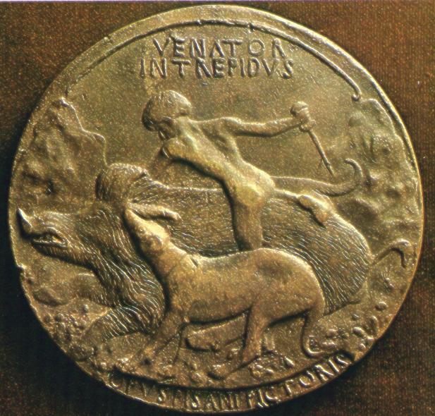 """Pisanello, medaglia di Alfonso V D'Aragona, 1449, verso – Fonte: """"M.A. de Caterina, Marcello Dudovich: le decorazioni murali (1906 - 1947""""."""