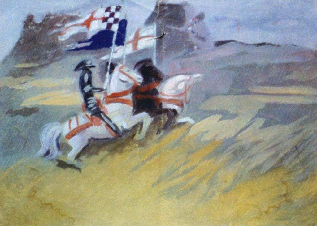 """Studio di M. Dudovich per le tempere di Villa Amalia: i tre cavalieri, tempera su carta, 69x44 cm – Fonte: """"F. Farina, Il mare di Dudovich"""""""