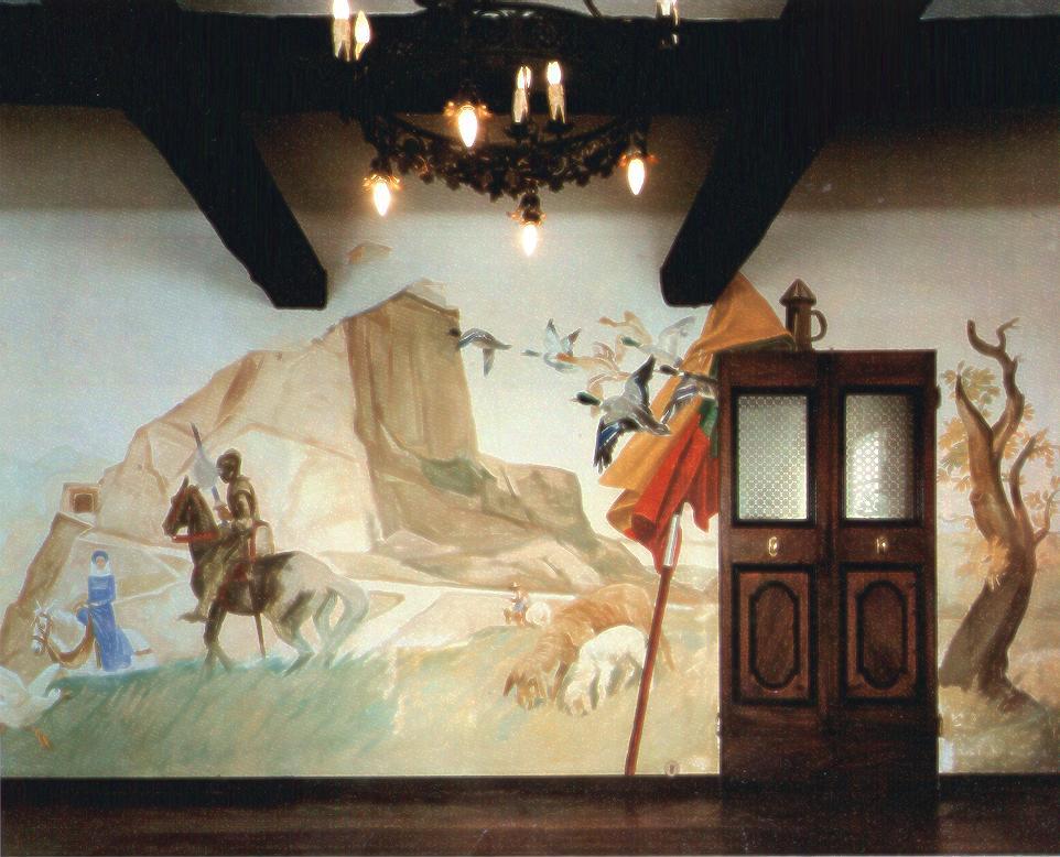 """M. Dudovich, la """"terza"""" parete del salotto di Villa Amalia: nello sfondo si riconosce la rocca di San Leo – Fonte: """"F. Farina, Il mare di Dudovich"""""""