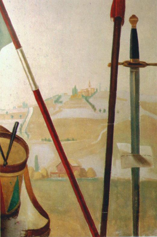 """M. Dudovich, particolare della """"quarta"""" parete del salotto di Villa Amalia: il cartiglio con la firma e altri oggetti del torneo – Fonte: """"F. Farina, Il mare di Dudovich"""""""
