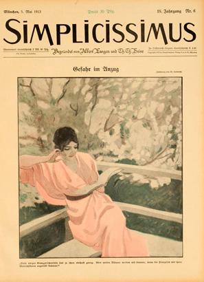 """M. Dudovich, Prima di copertina """"Simplicissimus"""", 1913. Fonte: www.marcellodudovich.it"""
