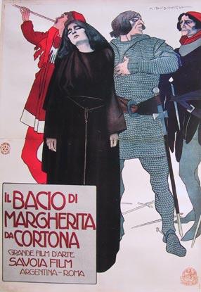 M. Dudovich, Margherita da Cortona, Grande Film d'Arte. Savoia Film, 1911, 200 x 142 cm., Stampa Stab. Chappuis, Bologna.