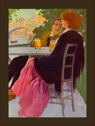 M. Dudovich, Rialto in Venezia, 1921. Pochoir su carta, 33 x 45 cm. Tavola preparatoria definitiva per modello di arte decorativa, tav. 2 - IV-3°. Collezione Privata, Luino (VA). Fonte: www.marcellodudovich.it