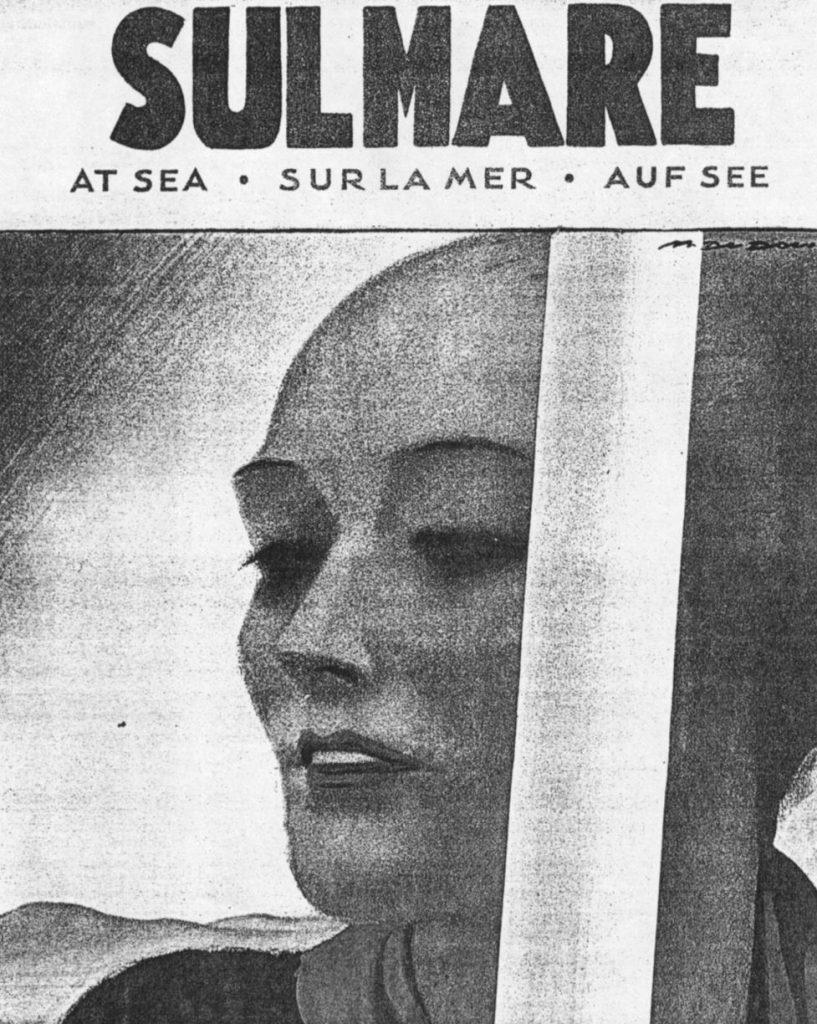 """Copertina di M. Dudovich per la rivista """"Sul Mare"""", giugno 1935 - Fonte: """"M.A. de Caterina, Marcello Dudovich: le decorazioni murali (1906 - 1947)""""."""