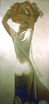 """M. Dudovich, Canefora I e II, 1940 ca. Tecnica mista su carta, 280 x100 cm. Proprietà privata, Milano - Fonte: """"R. Curci, Marcello Dudovich. Oltre il manifesto""""."""
